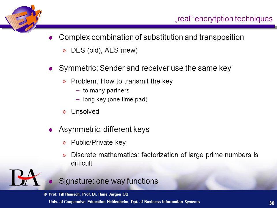 © Prof. Till Hänisch, Prof. Dr. Hans Jürgen Ott 30 Univ. of Cooperative Education Heidenheim, Dpt. of Business Information Systems real encrytption te