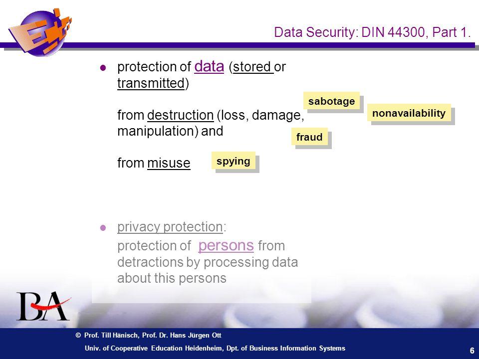 © Prof. Till Hänisch, Prof. Dr. Hans Jürgen Ott 6 Univ. of Cooperative Education Heidenheim, Dpt. of Business Information Systems Data Security: DIN 4