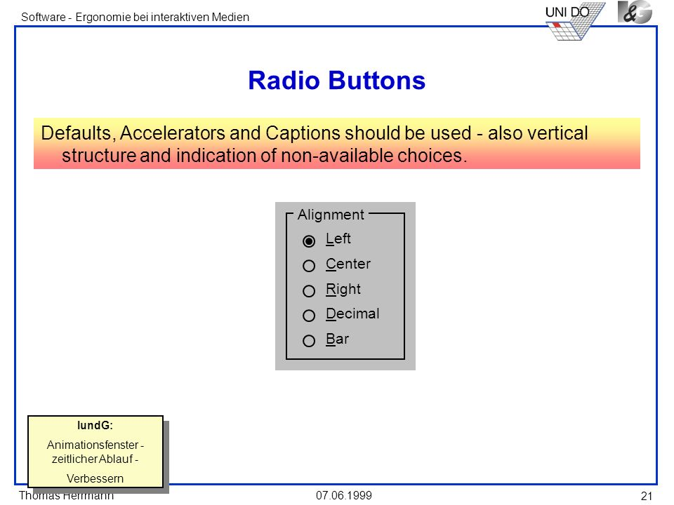 Thomas Herrmann Software - Ergonomie bei interaktiven Medien 07.06.1999 21 Radio Buttons Defaults, Accelerators and Captions should be used - also ver