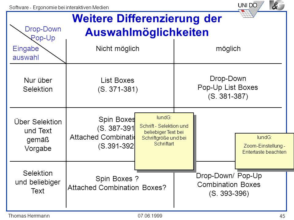 Thomas Herrmann Software - Ergonomie bei interaktiven Medien 07.06.1999 45 Weitere Differenzierung der Auswahlmöglichkeiten List Boxes (S. 371-381) Dr