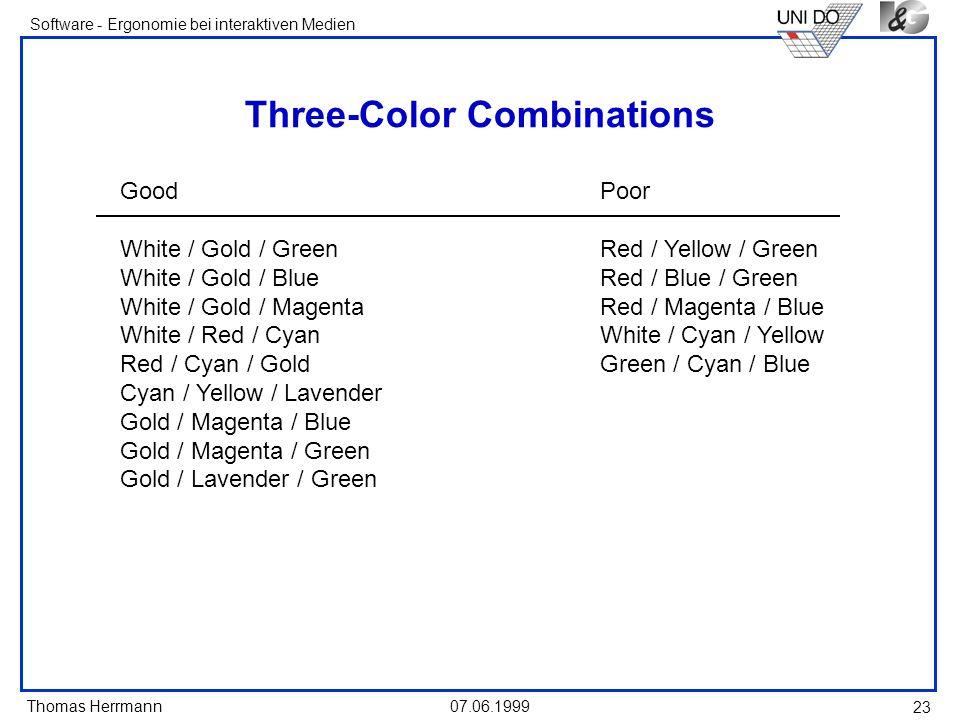 Thomas Herrmann Software - Ergonomie bei interaktiven Medien 07.06.1999 23 Three-Color Combinations GoodPoor White / Gold / GreenRed / Yellow / Green
