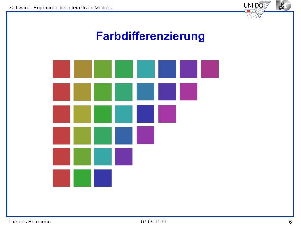 Thomas Herrmann Software - Ergonomie bei interaktiven Medien 07.06.1999 6 Farbdifferenzierung