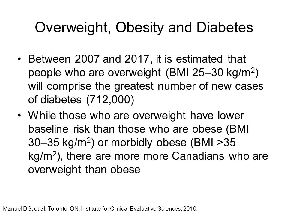 Overweight, Obesity and Diabetes Between 2007 and 2017, it is estimated that people who are overweight (BMI 25–30 kg/m 2 ) will comprise the greatest