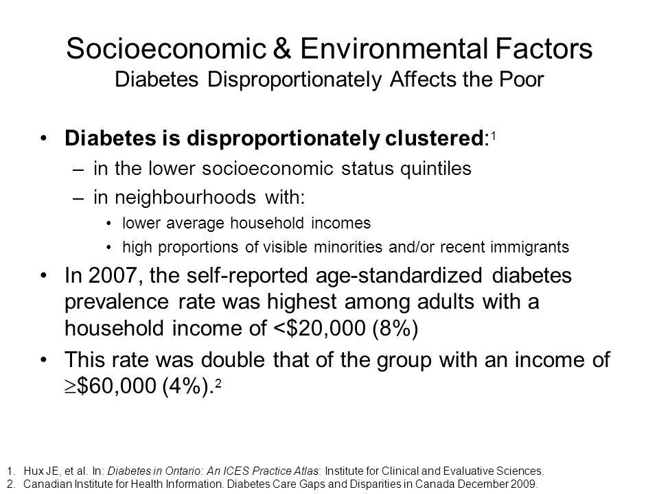 Socioeconomic & Environmental Factors Diabetes Disproportionately Affects the Poor Diabetes is disproportionately clustered: 1 –in the lower socioecon
