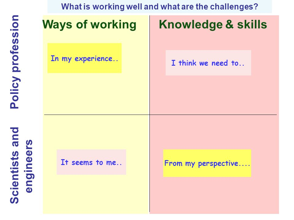 Ways of workingKnowledge & skills Scientists and engineers Policy profession What is working well and what are the challenges.
