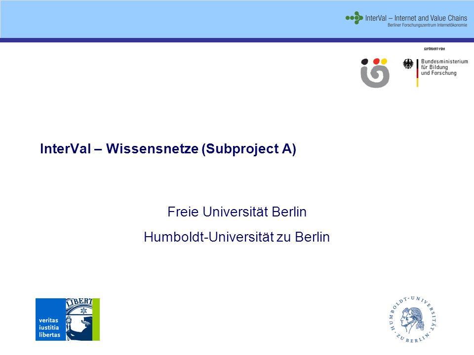 InterVal – Wissensnetze (Subproject A) Freie Universität Berlin Humboldt-Universität zu Berlin