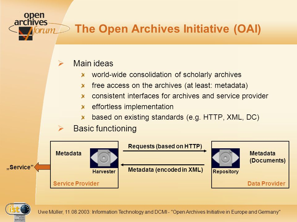 IST- 2001-320015 Uwe Müller, 11.08.2003: Information Technology and DCMI - Open Archives Initiative in Europe and Germany The Open Archives Initiative (OAI) Main ideas world-wide consolidation of scholarly archives free access on the archives (at least: metadata) consistent interfaces for archives and service provider effortless implementation based on existing standards (e.g.