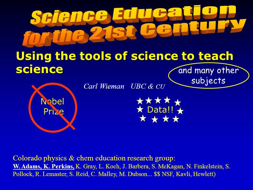 Carl Wieman UBC & CU Colorado physics & chem education research group: W. Adams, K. Perkins, K. Gray, L. Koch, J. Barbera, S. McKagan, N. Finkelstein,
