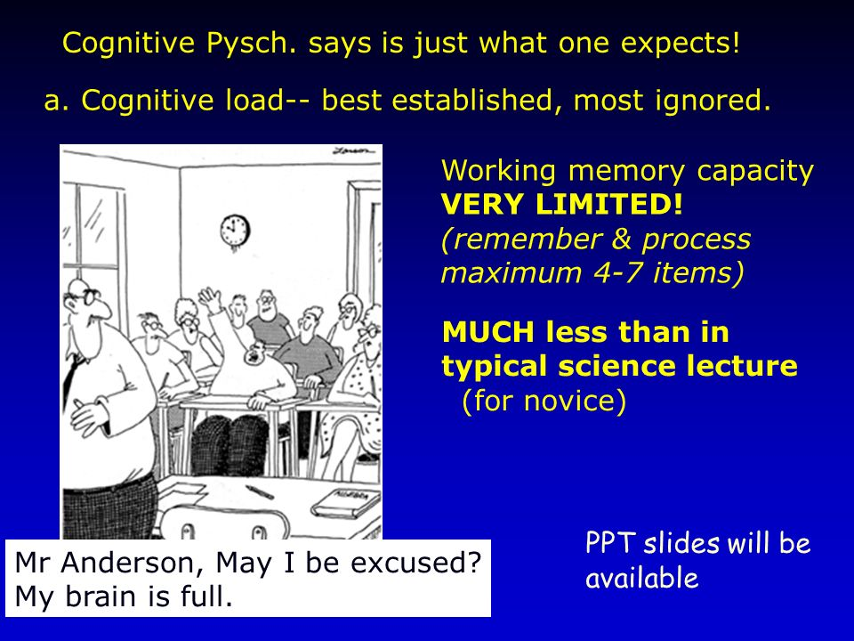 a. Cognitive load-- best established, most ignored. Mr Anderson, May I be excused? My brain is full. MUCH less than in typical science lecture (for no