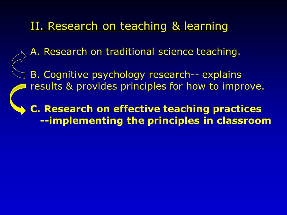 II. Research on teaching & learning A. Research on traditional science teaching. B. Cognitive psychology research-- explains results & provides princi