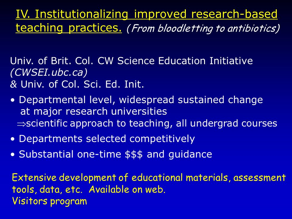 IV. Institutionalizing improved research-based teaching practices. ( From bloodletting to antibiotics) Univ. of Brit. Col. CW Science Education Initia