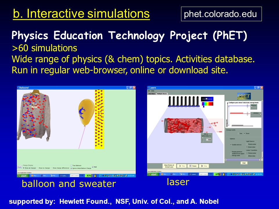 supported by: Hewlett Found., NSF, Univ. of Col., and A. Nobel phet.colorado.edu b. Interactive simulations Physics Education Technology Project (PhET