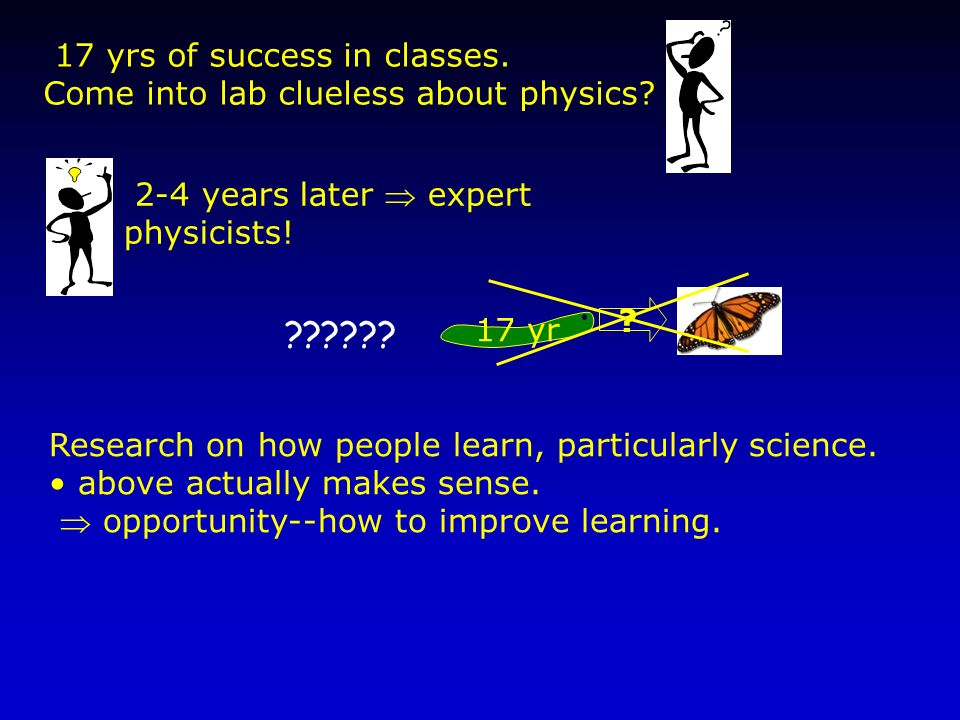 Research on how people learn, particularly science. above actually makes sense. opportunity--how to improve learning. 17 yrs of success in classes. Co