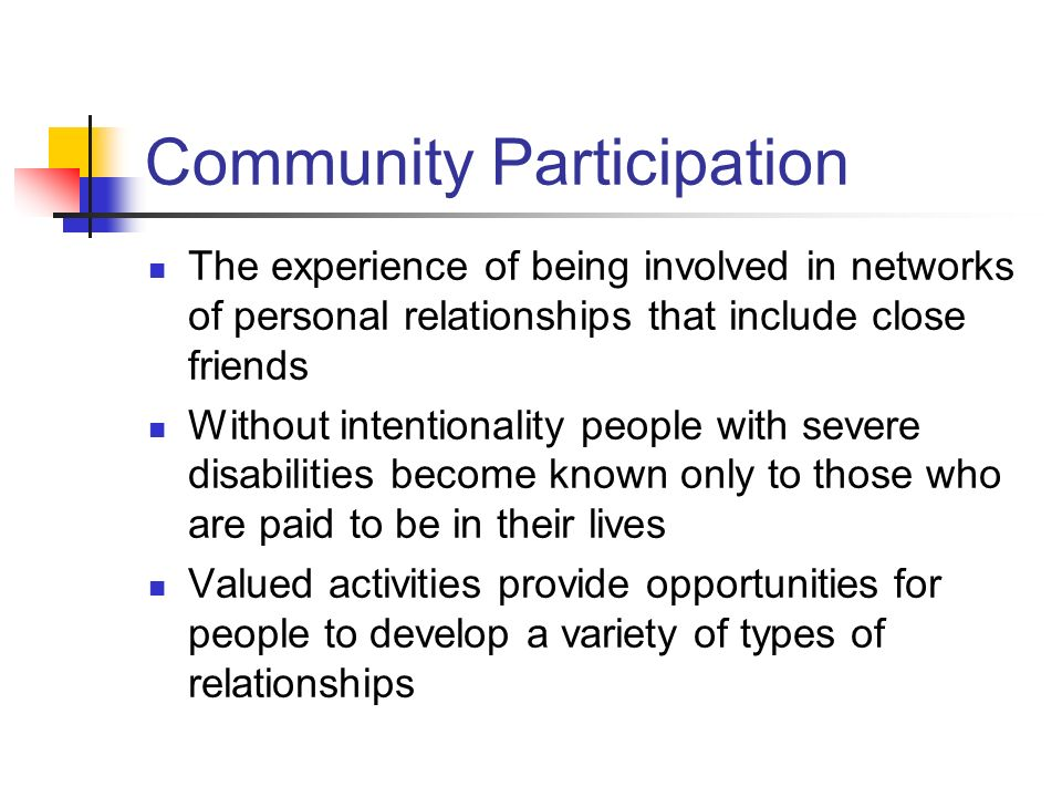 Community Participation The experience of being involved in networks of personal relationships that include close friends Without intentionality peopl