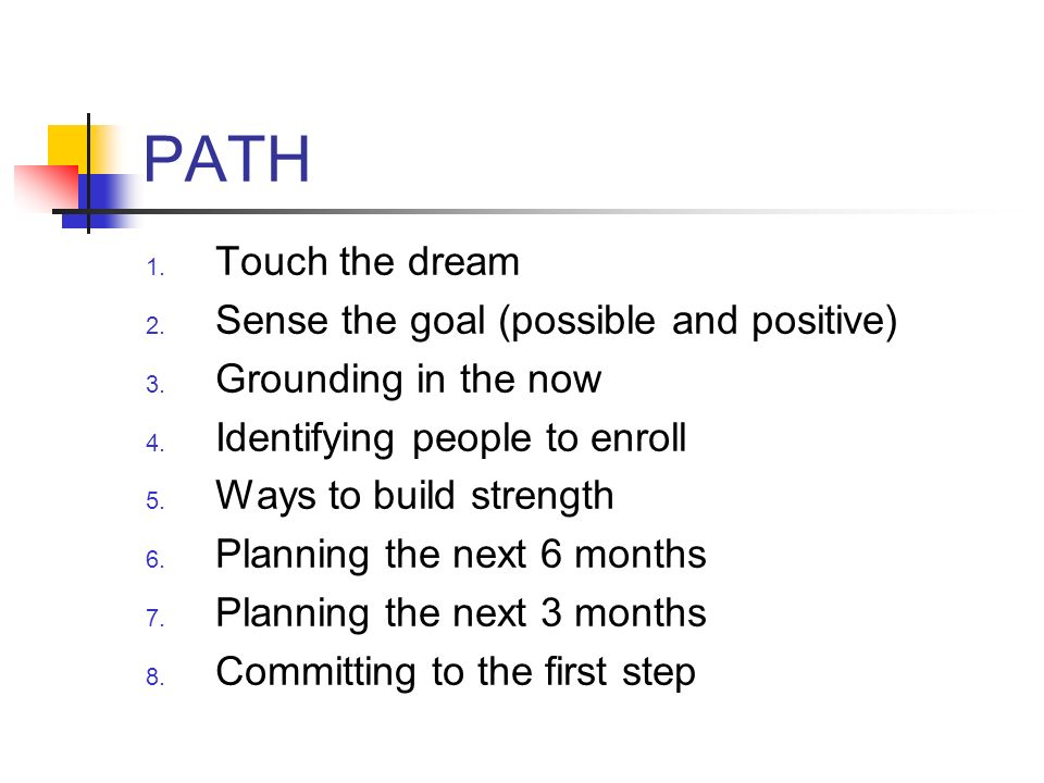 PATH 1. Touch the dream 2. Sense the goal (possible and positive) 3. Grounding in the now 4. Identifying people to enroll 5. Ways to build strength 6.