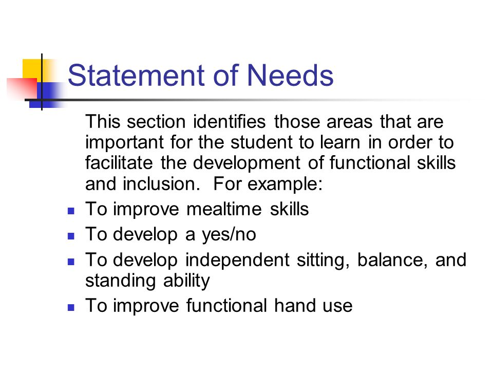 Statement of Needs This section identifies those areas that are important for the student to learn in order to facilitate the development of functiona