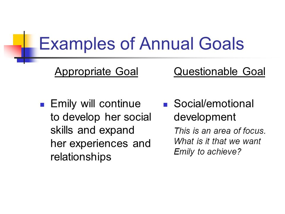 Examples of Annual Goals Appropriate Goal Emily will continue to develop her social skills and expand her experiences and relationships Questionable G