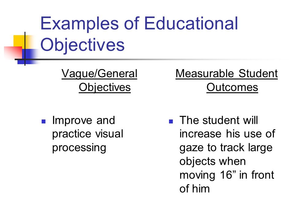 Examples of Educational Objectives Vague/General Objectives Improve and practice visual processing Measurable Student Outcomes The student will increa