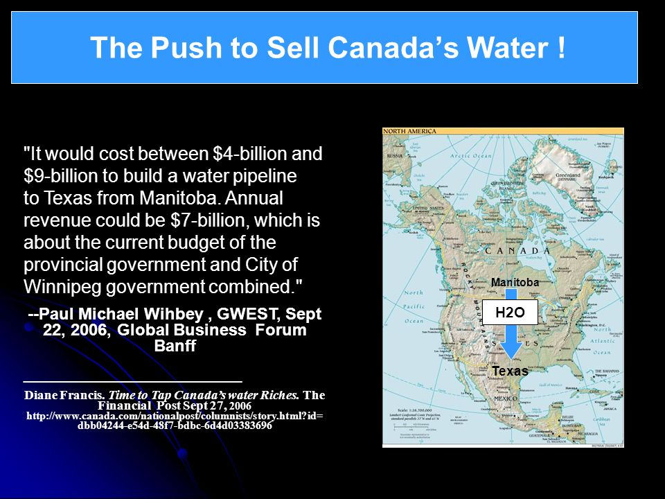 The Push to Sell Canadas Water !