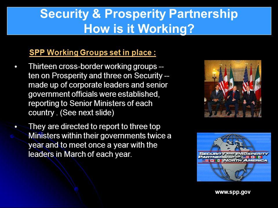 Security & Prosperity Partnership How is it Working? What is Atlantica ? SPP Working Groups set in place : Thirteen cross-border working groups -- ten