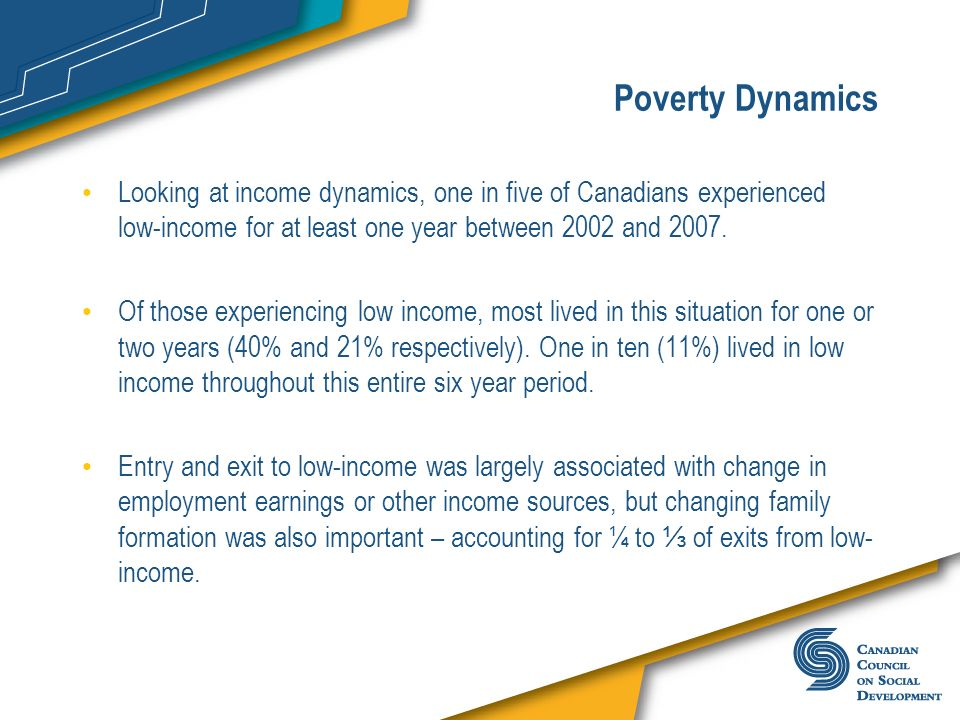 Poverty Dynamics Looking at income dynamics, one in five of Canadians experienced low-income for at least one year between 2002 and 2007. Of those exp