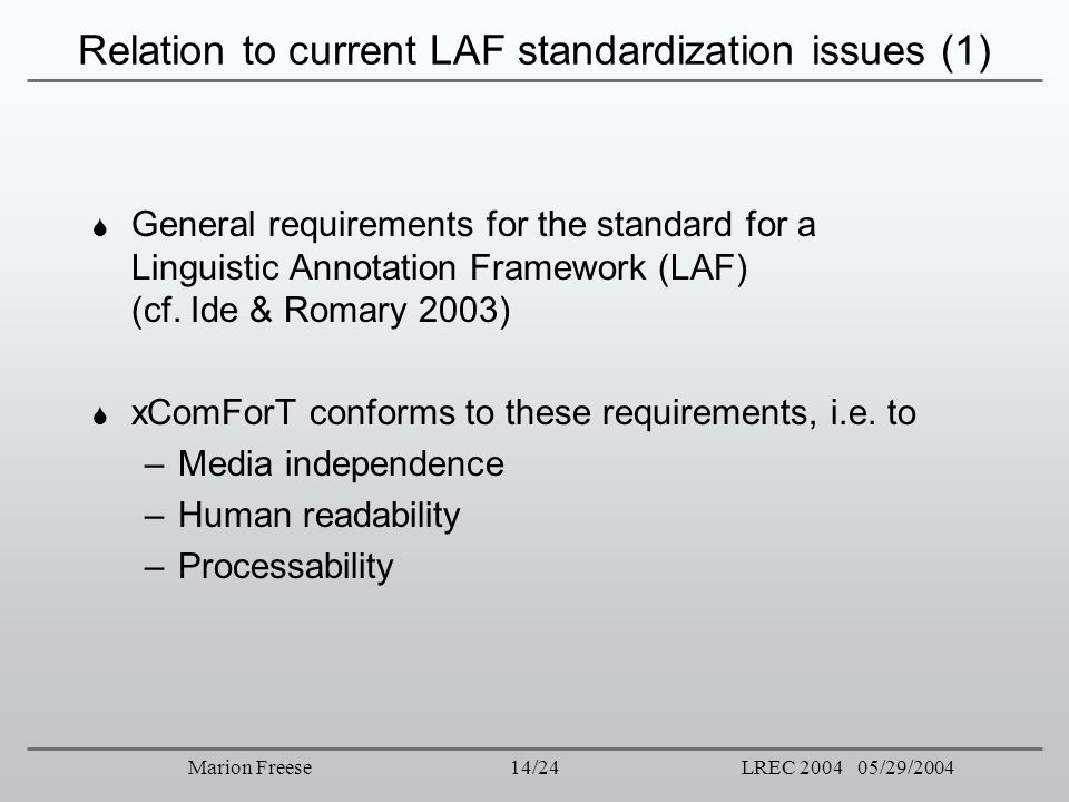 14/24LREC 2004 05/29/2004Marion Freese Relation to current LAF standardization issues (1) General requirements for the standard for a Linguistic Annot