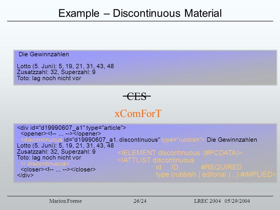 26/24LREC 2004 05/29/2004Marion Freese Example – Discontinuous Material CES xComForT Die Gewinnzahlen Lotto (5. Juni): 5, 19, 21, 31, 43, 48 Zusatzzah