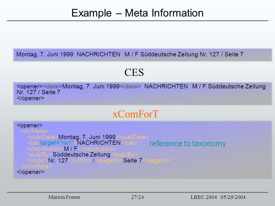 27/24LREC 2004 05/29/2004Marion Freese Example – Meta Information CES xComForT Montag, 7. Juni 1999 NACHRICHTEN M / F Süddeutsche Zeitung Nr. 127 / Se
