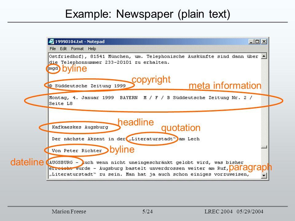 5/24LREC 2004 05/29/2004Marion Freese Example: Newspaper (plain text) byline copyright meta information headline quotation byline dateline paragraph