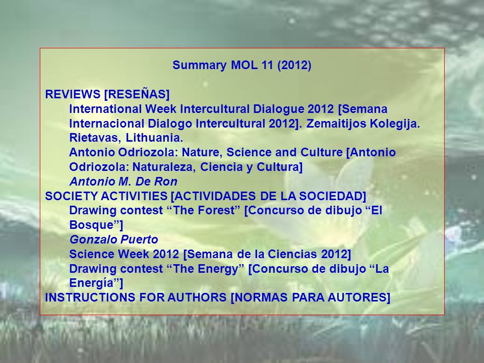 Summary MOL 11 (2012) REVIEWS [RESEÑAS] International Week Intercultural Dialogue 2012 [Semana Internacional Dialogo Intercultural 2012]. Zemaitijos K