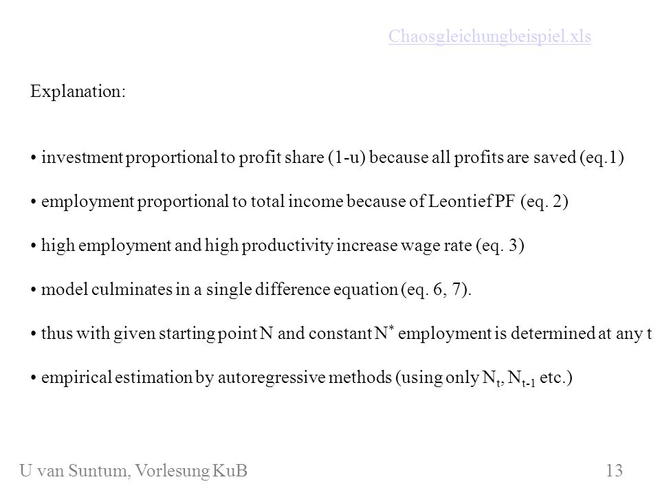 WS 2006/07 KuB 7 Explanation: investment proportional to profit share (1-u) because all profits are saved (eq.1) employment proportional to total inco