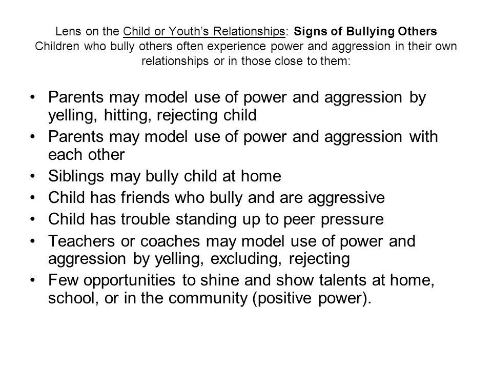 Lens on the Child or Youths Relationships: Signs of Bullying Others Children who bully others often experience power and aggression in their own relat