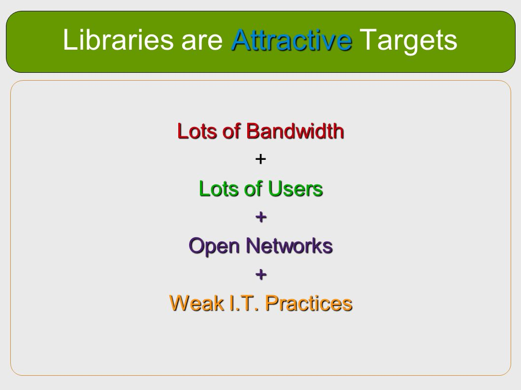 Attractive Libraries are Attractive Targets Lots of Bandwidth + Lots of Users + Open Networks + Weak I.T. Practices
