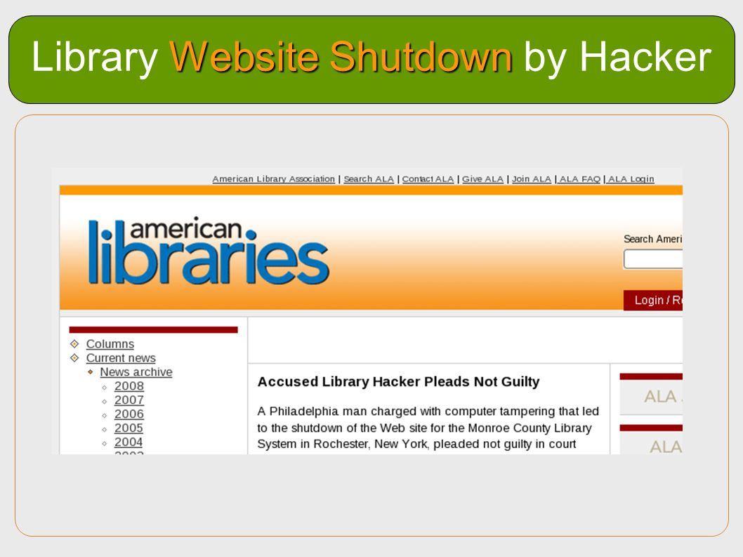 Website Shutdown Library Website Shutdown by Hacker