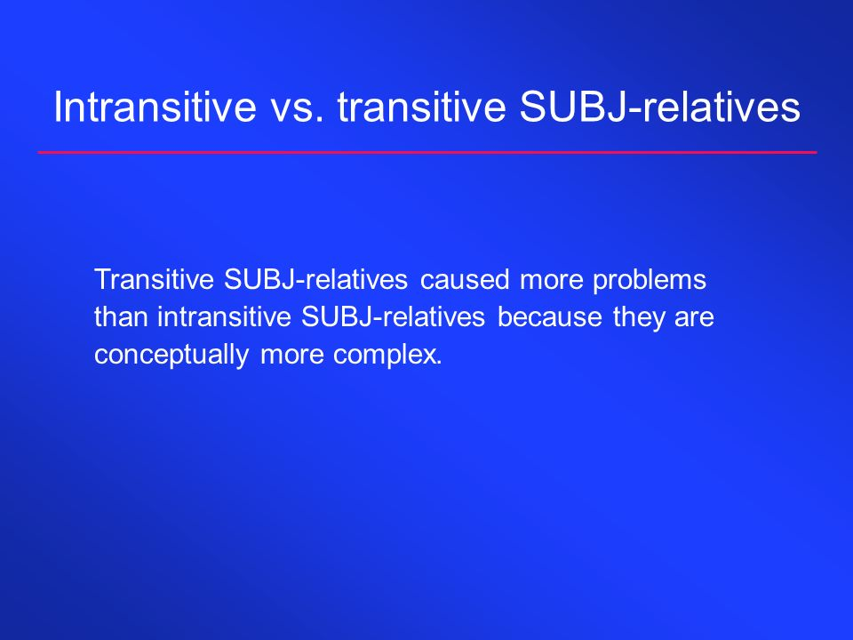 Intransitive vs. transitive SUBJ-relatives Transitive SUBJ-relatives caused more problems than intransitive SUBJ-relatives because they are conceptual