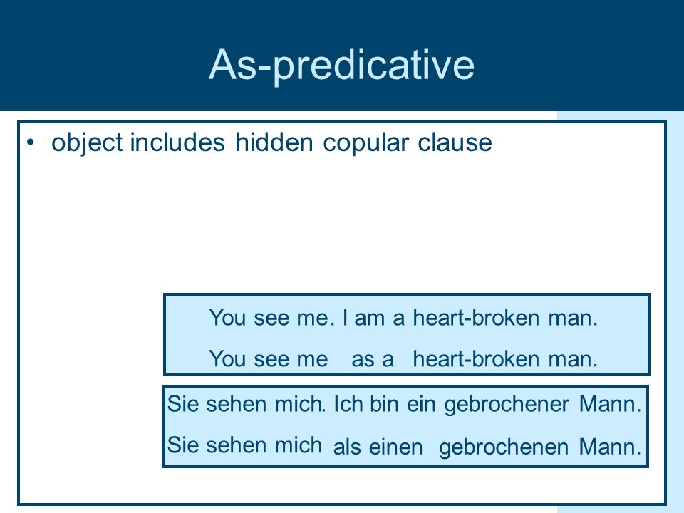 As-predicative object includes hidden copular clause heart-broken man.You see meas a You see meheart-broken man..