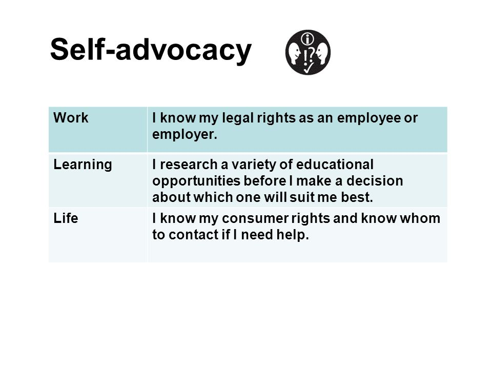 Self-advocacy WorkI know my legal rights as an employee or employer. LearningI research a variety of educational opportunities before I make a decisio