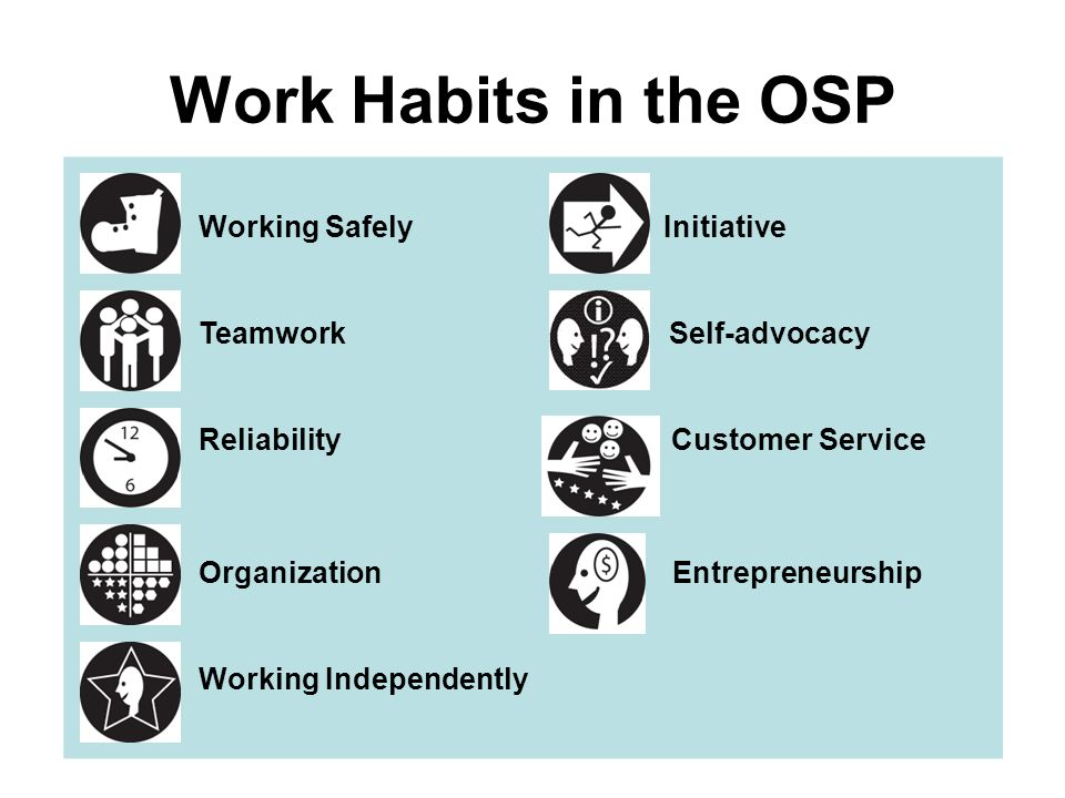 OSP Work Habits Each work habit has performance indicators There are no skill levels associated with work habits.