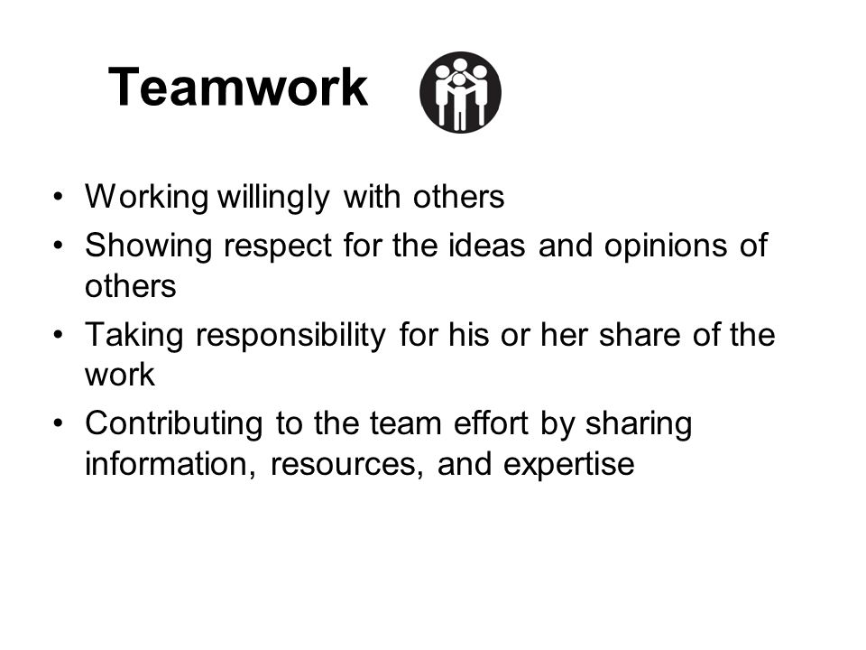 Teamwork Working willingly with others Showing respect for the ideas and opinions of others Taking responsibility for his or her share of the work Con