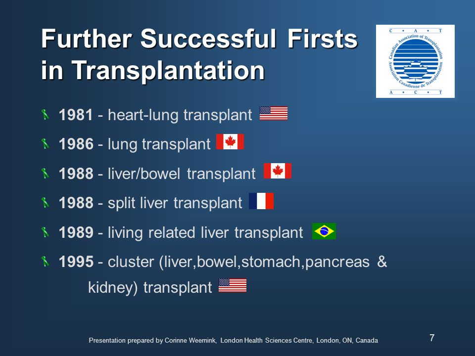 Presentation prepared by Corinne Weernink, London Health Sciences Centre, London, ON, Canada 8 Survival after Transplant varies greatly among organ groups depends on the patients condition before transplant depends on the presence of other illness