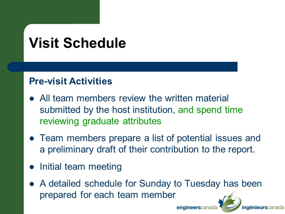 Visit Schedule Pre-visit Activities All team members review the written material submitted by the host institution, and spend time reviewing graduate