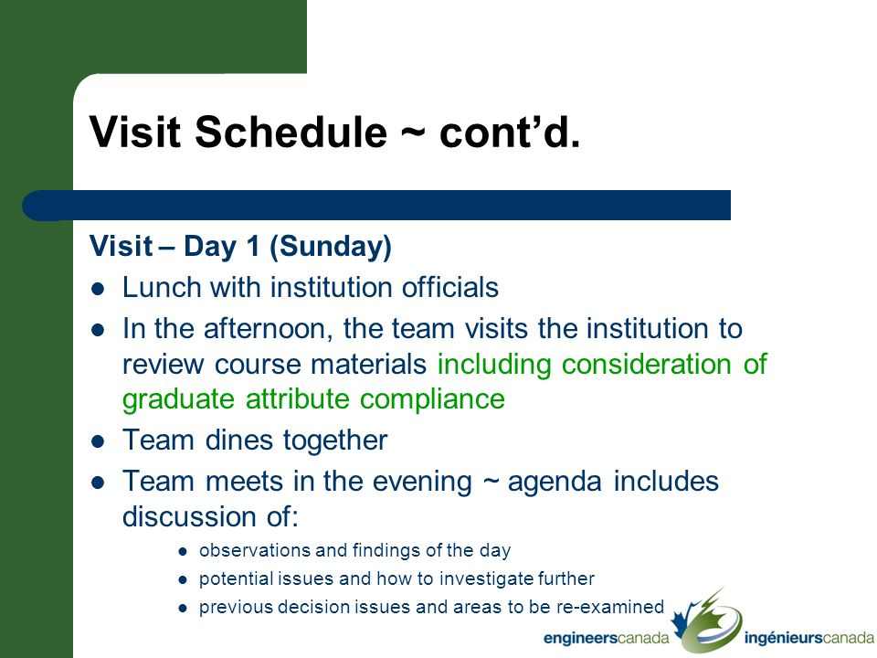Visit Schedule ~ contd. Visit – Day 1 (Sunday) Lunch with institution officials In the afternoon, the team visits the institution to review course mat