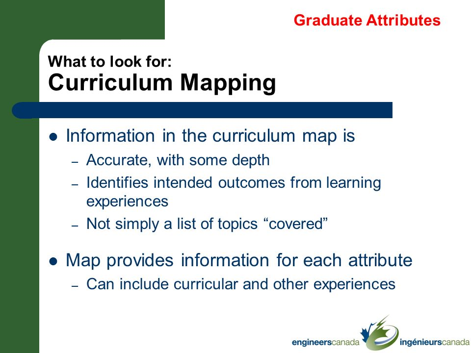 What to look for: Curriculum Mapping Information in the curriculum map is – Accurate, with some depth – Identifies intended outcomes from learning exp