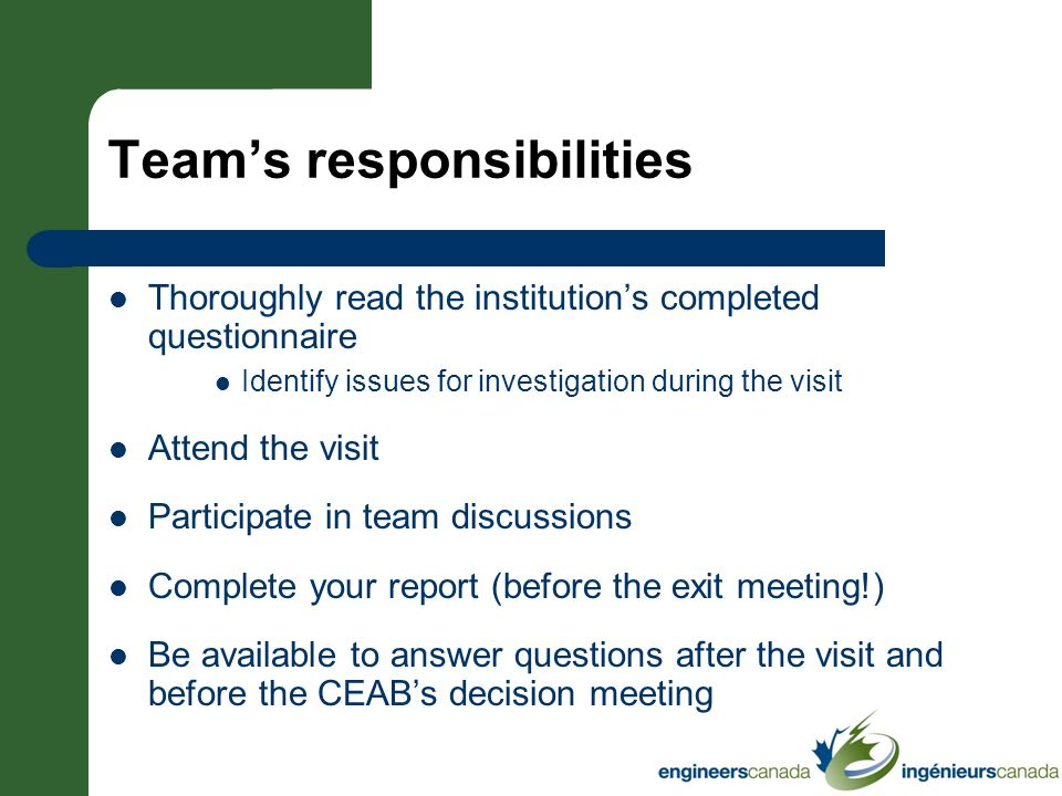 Teams responsibilities Thoroughly read the institutions completed questionnaire Identify issues for investigation during the visit Attend the visit Pa