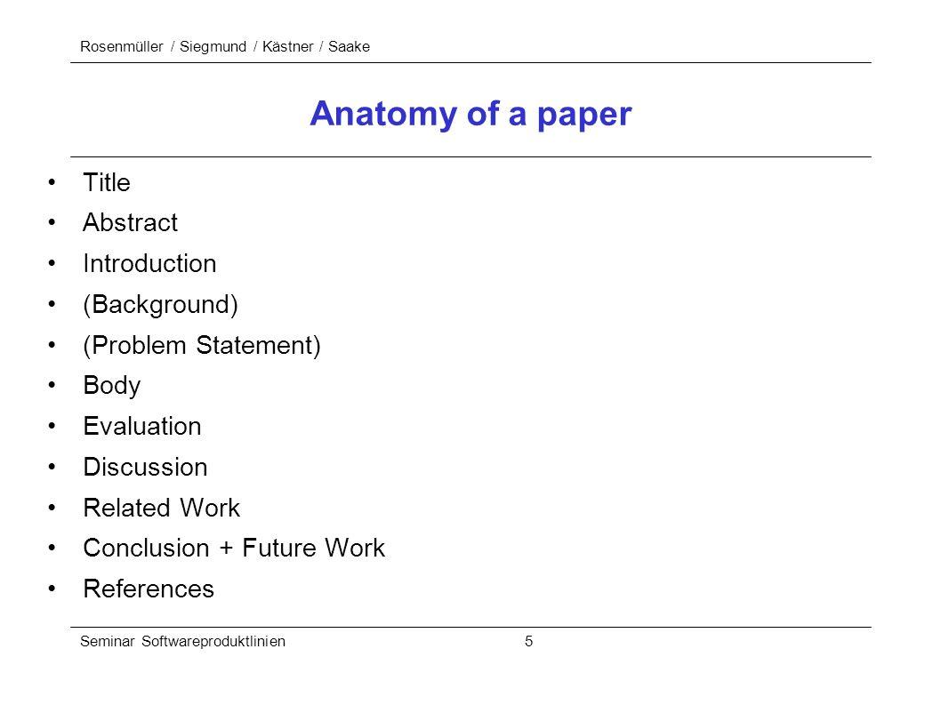 Rosenmüller / Siegmund / Kästner / Saake Seminar Softwareproduktlinien 5 Anatomy of a paper Title Abstract Introduction (Background) (Problem Statemen