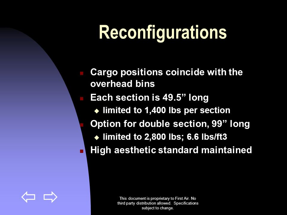 This document is proprietary to First Air. No third party distribution allowed. Specifications subject to change. Reconfigurations Cargo positions coi