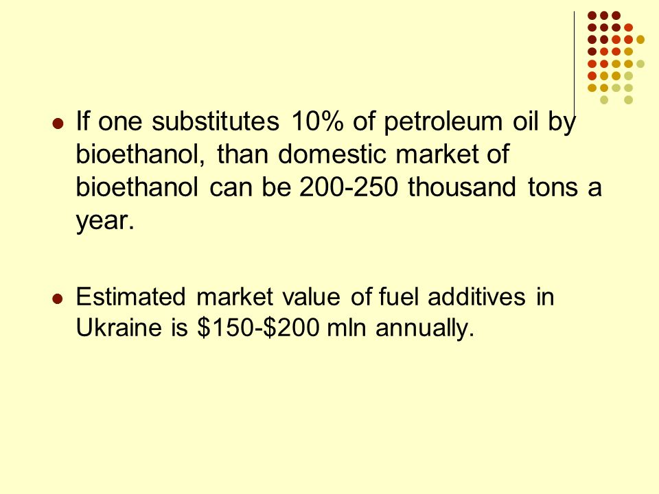 If one substitutes 10% of petroleum oil by bioethanol, than domestic market of bioethanol can be 200-250 thousand tons a year. Estimated market value