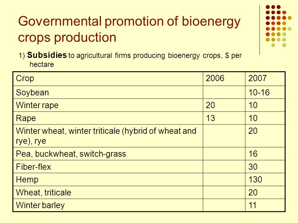 Governmental promotion of bioenergy crops production 1) Subsidies to agricultural firms producing bioenergy crops, $ per hectare Crop20062007 Soybean1