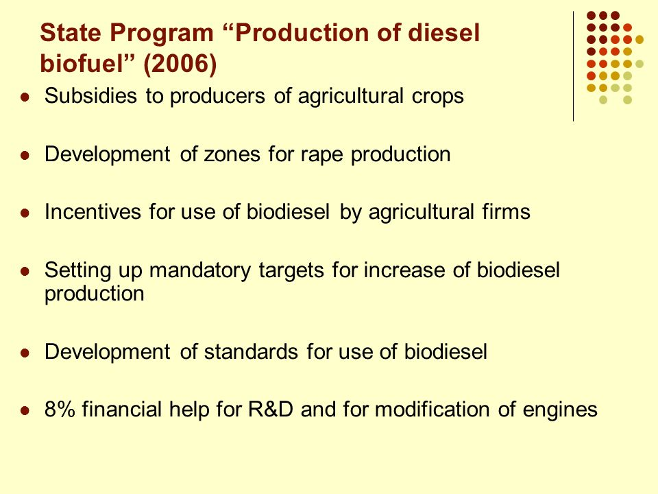 State Program Production of diesel biofuel (2006) Subsidies to producers of agricultural crops Development of zones for rape production Incentives for