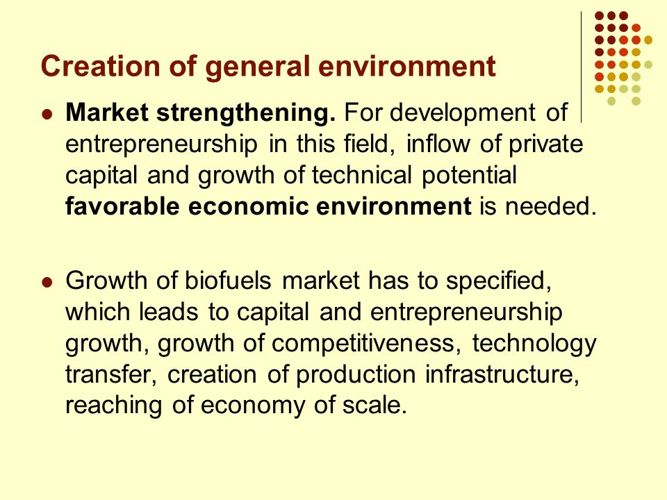 Market strengthening. For development of entrepreneurship in this field, inflow of private capital and growth of technical potential favorable economi